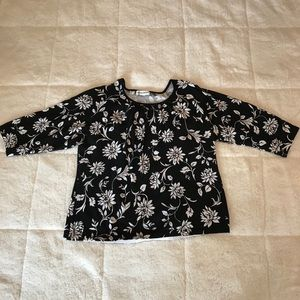Lane Bryant Floral Knit Blouse - 3/4 Length sleeve